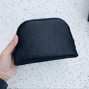 NWT Authentic Gucci Leather Cosmetic Bag Black